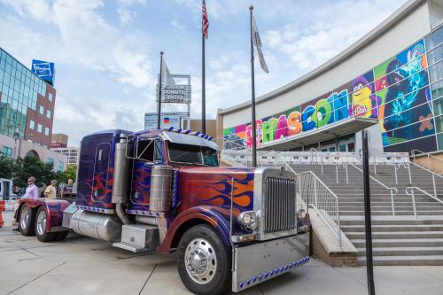 HASCON Optimus Prime truck at the Dunkin' Donuts Center