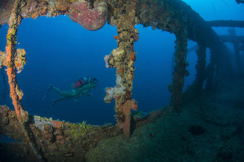 Diver looks at the starboard deck area