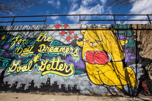 Mural in Pilsen Chicago by JC Rivera and Sentrock