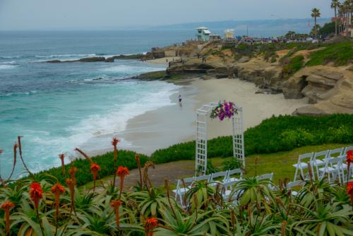 Wedding ceremony set-up overlooking the California coast