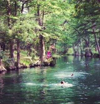 Jumping into Blue Hole. Photo by Kristen Maurel