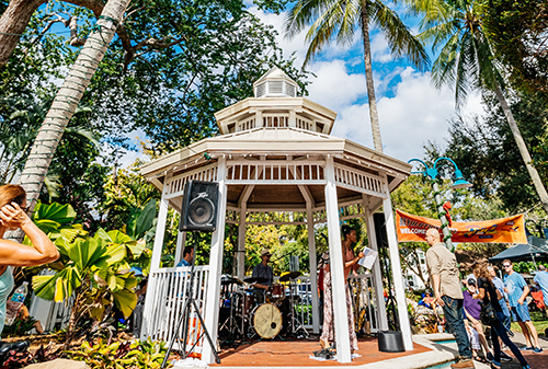Live band performing in a gazebo on the Downtown Riverwalk for Jazz Brunch