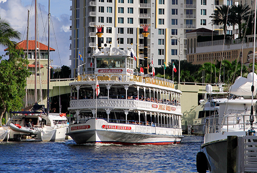 The Jungle Queen River Boat cruises through the waterways of Greater Fort Lauderdale