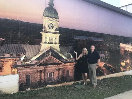 Located on the back of Dollar General this mural is of Athens.
