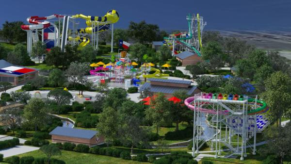 Aerial view of Typhoon Texas Water Park