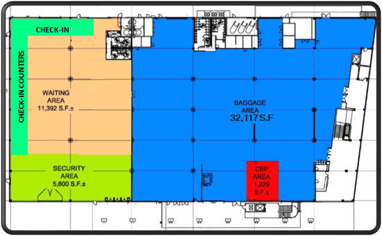 Map of Cruise Terminal 29 first floor layout