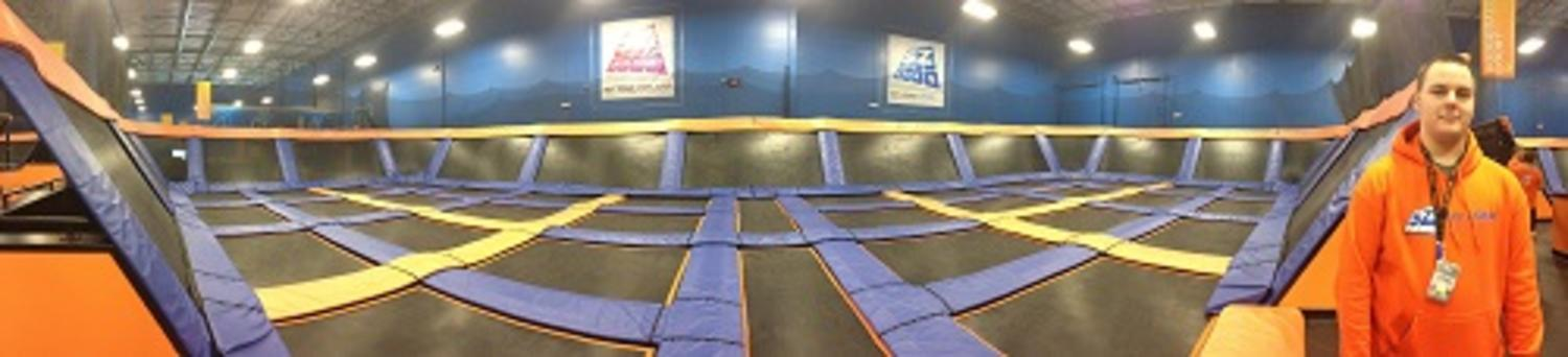 Panoramic view of the large play area inside the Sky Zone in Plainfield, Indiana.