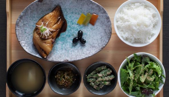 black cod in a ginger reduction with lunch bento items. credit: Danielle Del Re