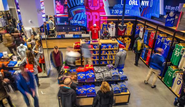 customers shopping at the NBA Store