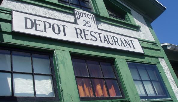 Sign over the entrance to Depot 25 Restaurant