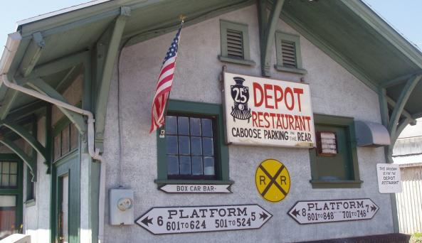 Side view of Depot 25 Restaurant