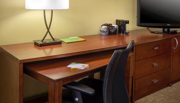 Guest rooms offer spacious work desks
