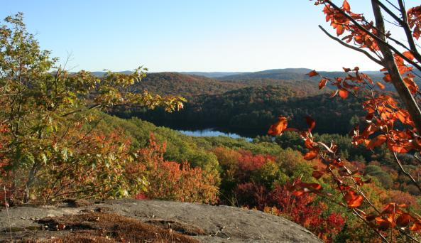 Early Fall View of Woods Lake From Little Cathead Mountain Cliffs