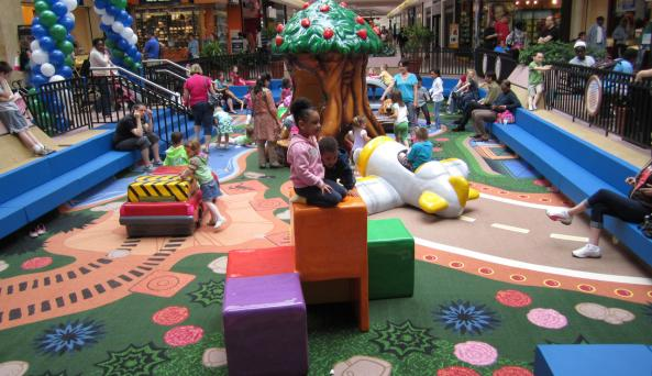 Kids play at the Marketplace Mall in Rochester, NY