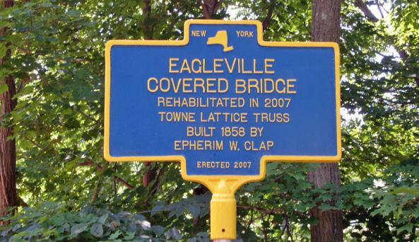 Eagleville Covered Bridge sign