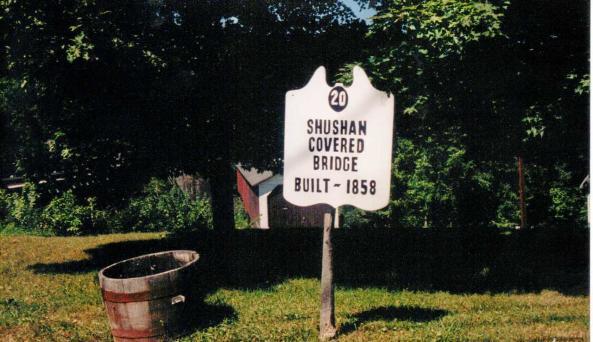 Shushan Covered Bridge - sign