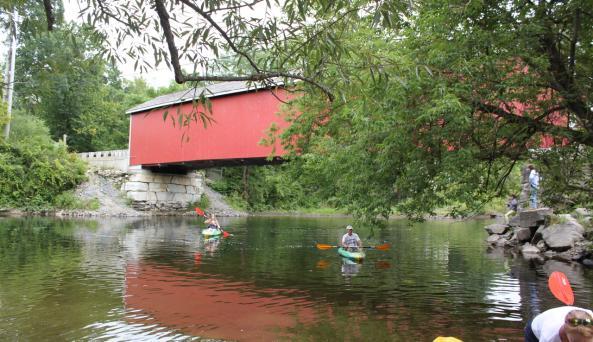Rexleigh Covered Bridge - paddlers below bridge