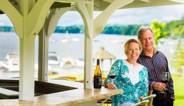 Brewster Inn - The owners, Richard & Patti by the water