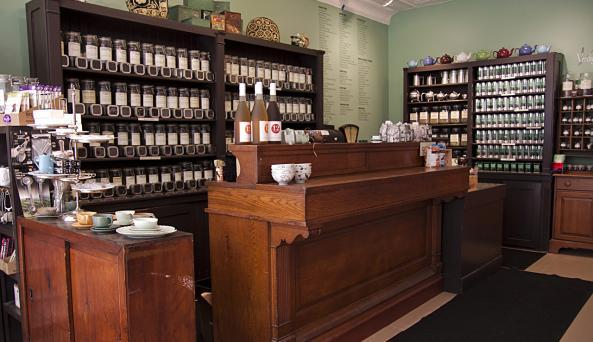 Verdigris Tea interior tea counter