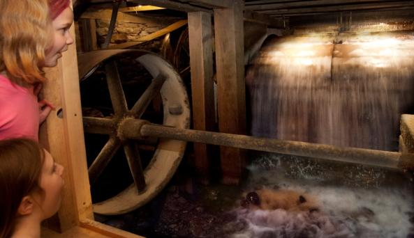 Visitors can see the 1926 Fitz overshot waterwheel start up and power the mill and its machines