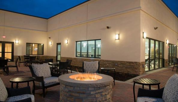 Courtyard and outdoor firepit area