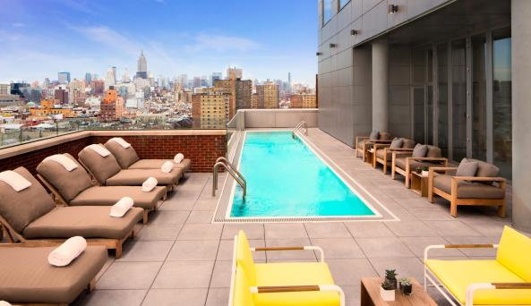 rooftop pool at the Hotel Indigo Lower East Side New York