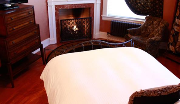 room with fireplace