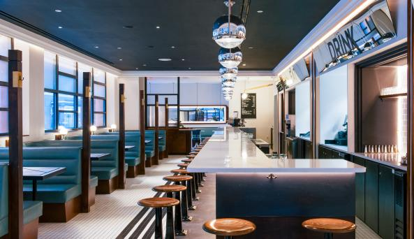 Interior of Nickel & Diner. photographed by Jonah Rosenberg