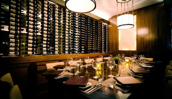 wine alcove in the dining room at Pera Mediterranean Brasserie