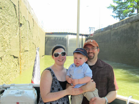 Family on the Sam Patch in a lock on the Erie Canal