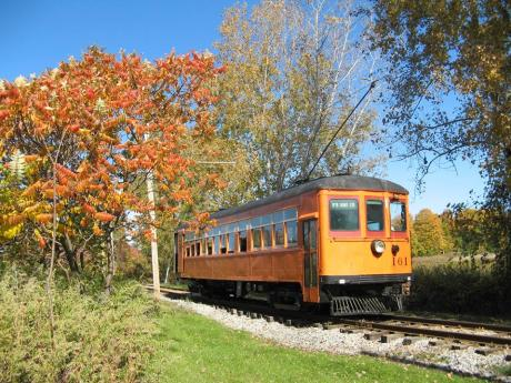 Trolley drives through beautiful fall leaves