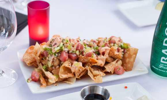 Famous Ahi Nachos & Shrimp Spring Rolls