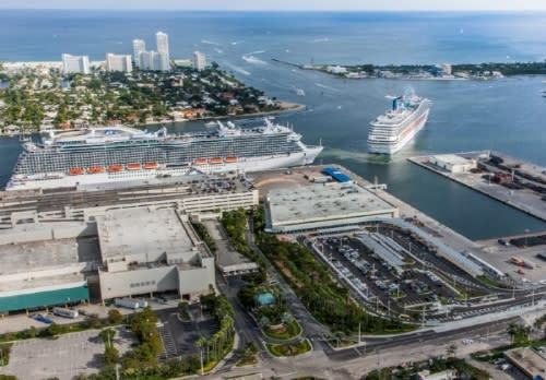Aerial photo looking east of Cruise Terminals 2 and 4.