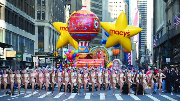 Rockettes kick line and floats in Macy's Thanksgiving Day Parade