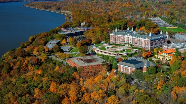 View of Culinary Institute of America along the Hudson River in Hyde Park