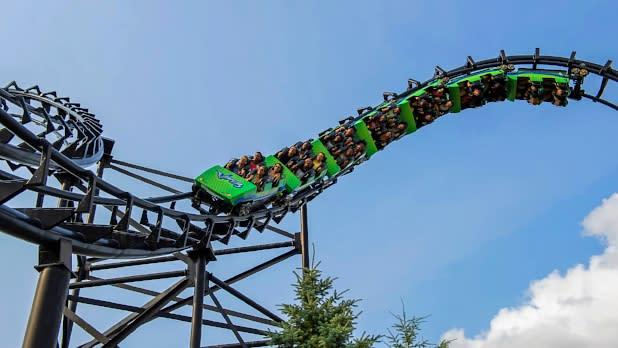 People riding roller coaster at Darien Lake Amusement Park