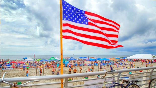 American Flag on Long Beach in New York