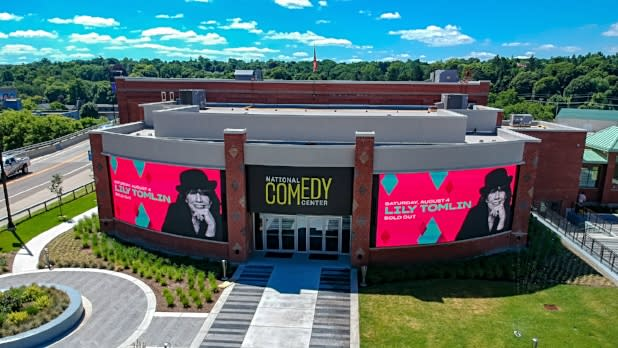 Aerial view of National Comedy Center in Jamestown