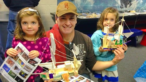 Family at Build-a-Boat at the Cold Spring Harbor Whaling Museum & Education Center