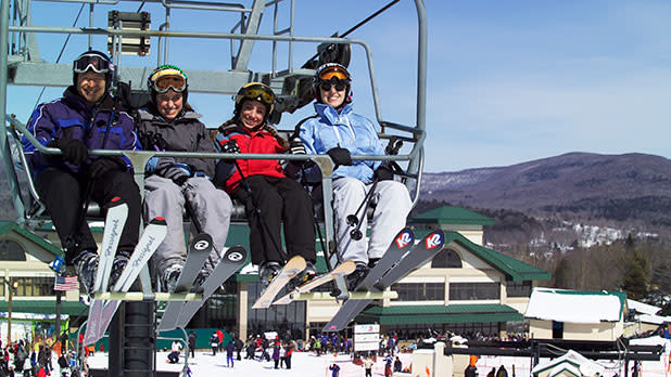 Skiers on Chair Lift at Windham Mountain