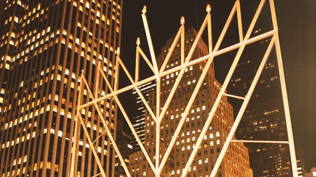 Hanukkah menorah at The Plaza Hotel in Manhattan