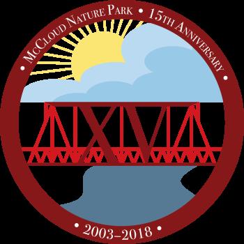 McCloud Nature Park 15th Anniversary logo, created by park naturalist Jordan Tremper.
