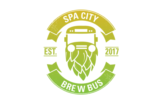 Spa City Brew Bus logo weathered look