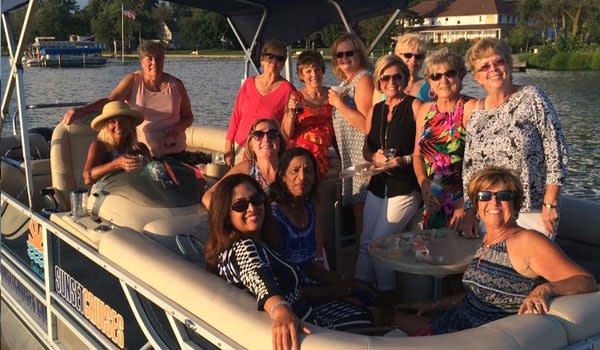 Group of ladies on a Cedar Lake Sunset Cruise in Northwest Indiana