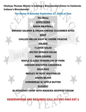The Bicentennial Banquet at Chateau Thomas offers a unique menu.