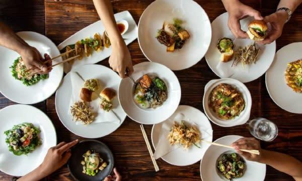 Plates of food at KUU Japanese sushi