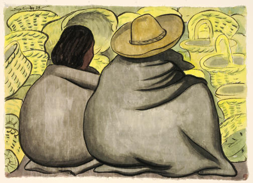 Diego Rivera watercolor of two seated basket vendors