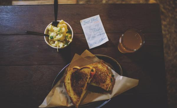 Sandwich and drink at LEstelle House