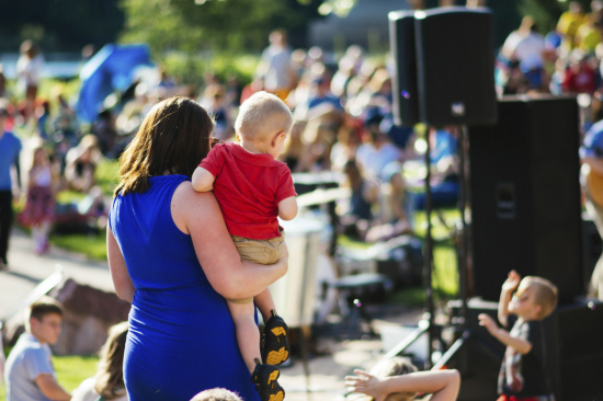 Family at Sounds Like Summer Concert Series at Phoenix Park in Eau Claire, Wisconsin