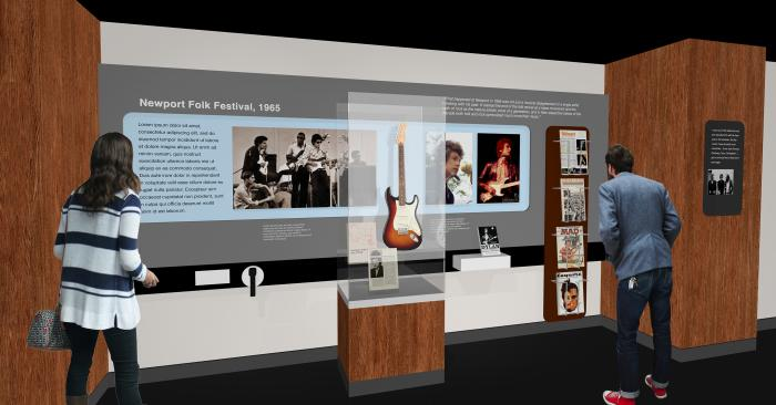 A rendering of the Bob Dylan exhibit at the Writer's Museum